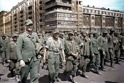 Marsh German prisoners of Moskve  March of German POW's. Moscow, 17 July 1944