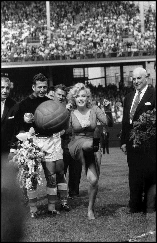 Marilyn Monroe at the opening of the USA-Israel Football International, at Ebbets Field in 1959