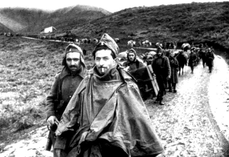 Greek troops march towards the front at Korçë during the Greco-Italian War