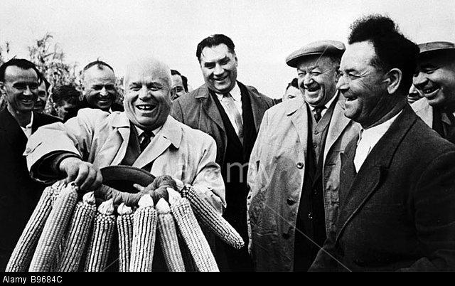 B9684C Ukrainian collective farmers handing a corn wreath to Nikita Khrushchev