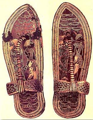 2600 BC ancient Eygpt Sandals with gold foil (Tutankhamun)