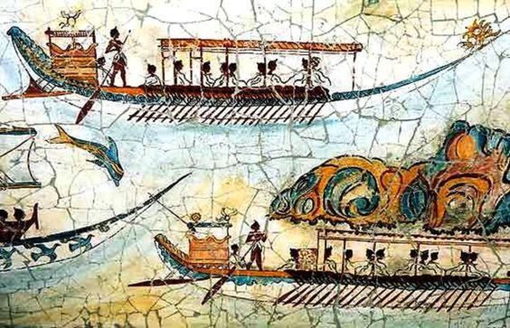 Akrotiri - Minoan fresco of The Fleet 16th century BC, by Macedonia Cradle of Hellenism 2